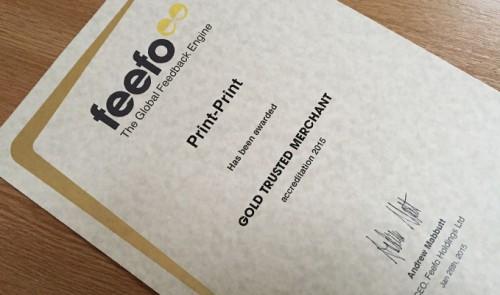 Feefo Gold Trusted Merchant 2015