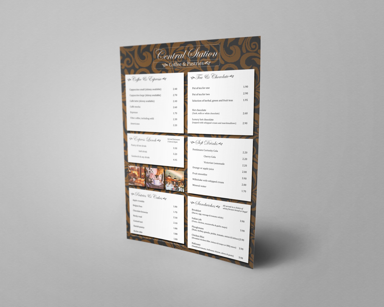 coffee shop menu design